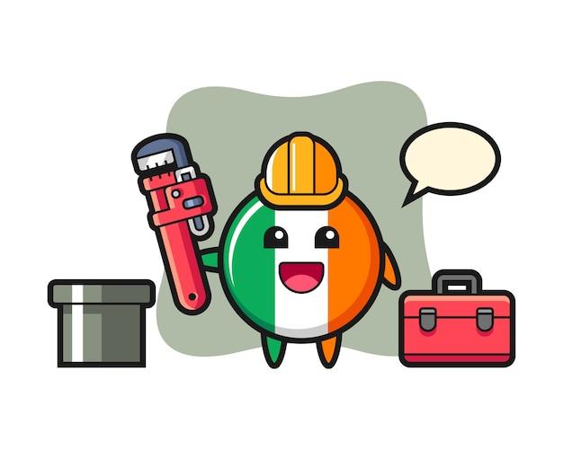 Illustrazione del carattere del distintivo della bandiera dell'irlanda come idraulico