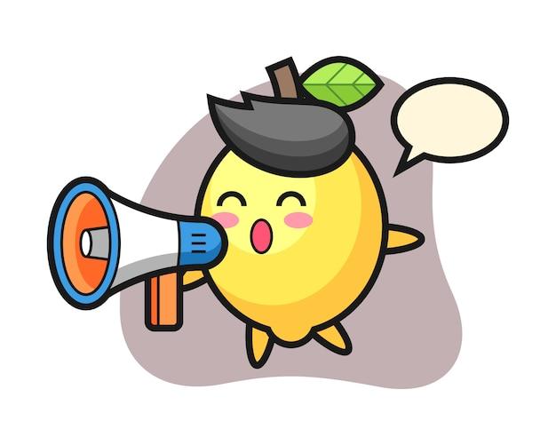 Illustrazione del carattere del limone che tiene un megafono