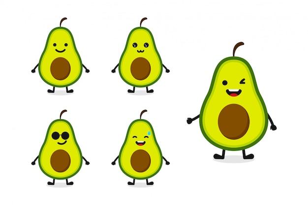 Illustrazione del carattere dell'avocado della frutta messa per l'espressione felice