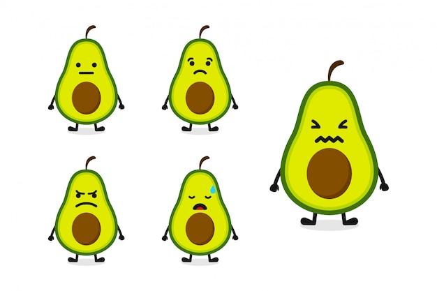 Illustrazione del carattere dell'avocado della frutta messa per l'espressione triste