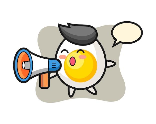 Illustrazione del carattere dell'uovo sodo che tiene un megafono