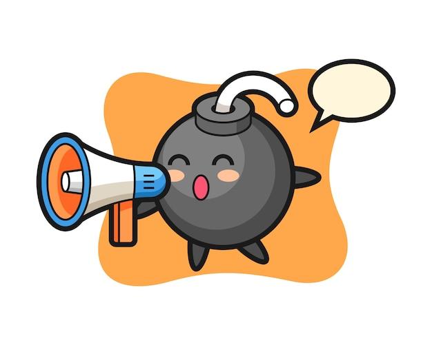 Illustrazione del carattere della bomba che tiene un megafono