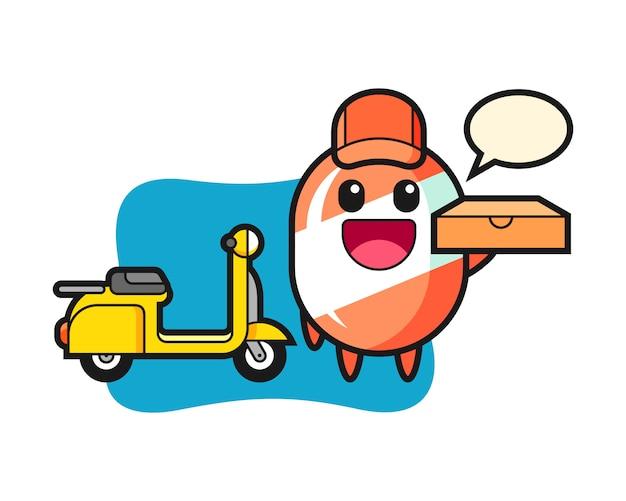 Illustrazione del carattere della caramella come fattorino della pizza