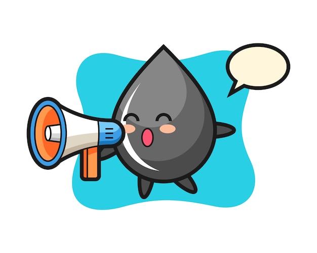 Illustrazione del carattere di goccia di olio che tiene un megafono