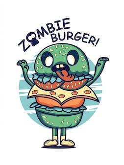 Illustrazione del carattere di hamburger di zombie