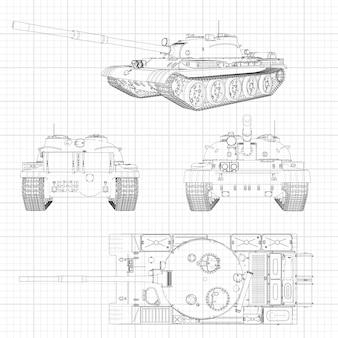 Illustrazione del carro armato, macchina militare nelle linee di contorno su carta millimetrata
