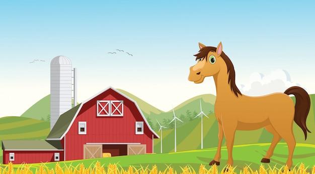Illustrazione del cartone animato carino cavallo nella fattoria