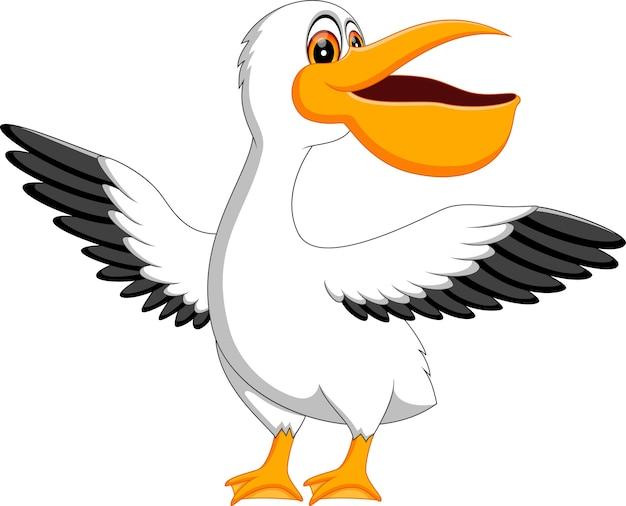 Illustrazione del cartone animato carino pellicano