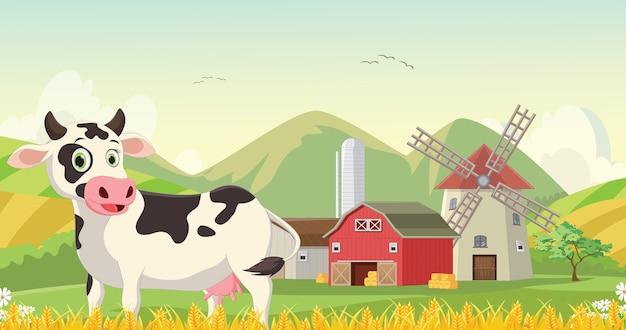 Illustrazione del cartone animato di mucca felice nella fattoria