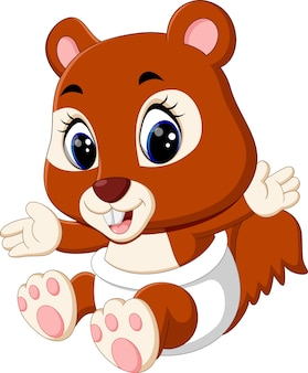 Illustrazione del cartone animato scoiattolo carino