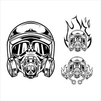 Illustrazione del casco del motociclo