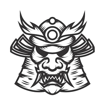 Illustrazione del casco del samurai su fondo bianco. elemento per logo, etichetta, emblema, segno. illustrazione