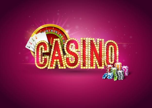 Illustrazione del casinò con la ruota della roulette, carte da poker, giocare a chips e l'insegna di illuminazione