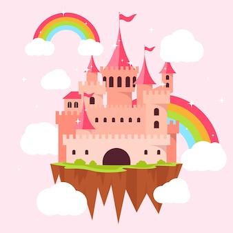Illustrazione del castello di fiaba con arcobaleni