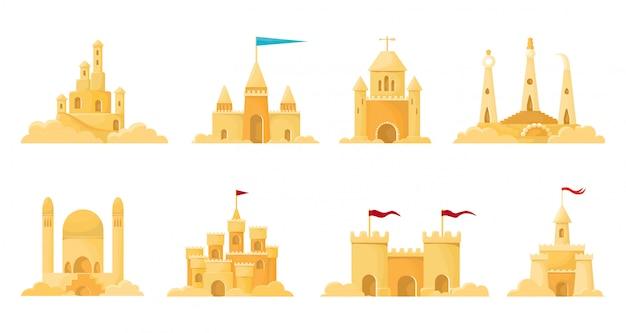 Illustrazione del castello di sabbia su fondo bianco. icona stabilita del fumetto del castello di sabbia. castello stabilito isolato della sabbia dell'icona del fumetto.