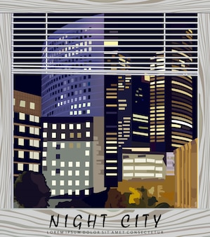Illustrazione del centro di affari della città di notte