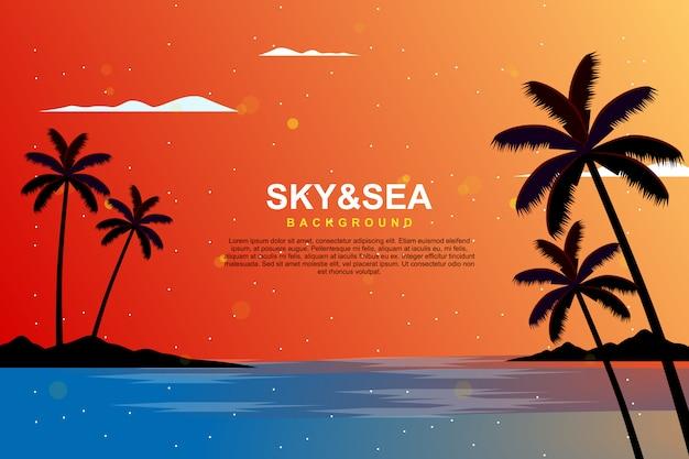 Illustrazione del cielo e del mare di sera di estate di paesaggio