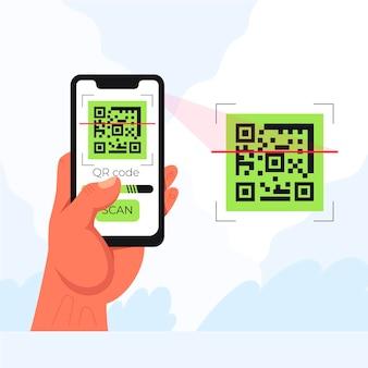 Illustrazione del codice qr di scansione dello smartphone