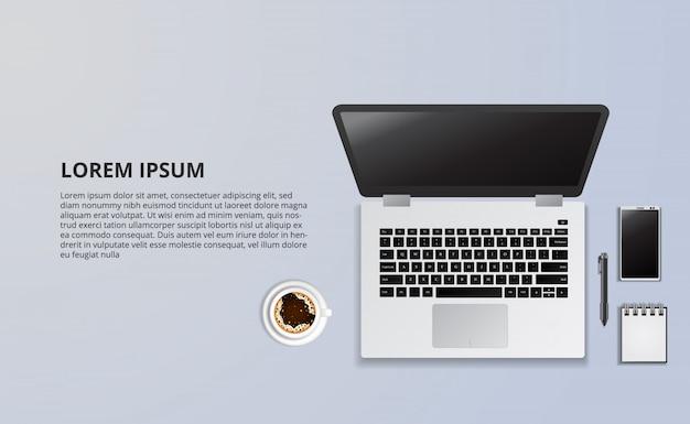 Illustrazione del computer portatile e del caffè dalla vista superiore