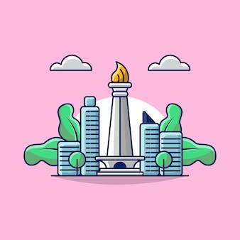Illustrazione del concetto del punto di riferimento di jakarta indonesia