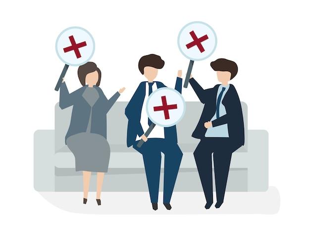 Illustrazione del concetto di accordo di affari dell'avatar della gente