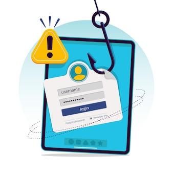 Illustrazione del concetto di account di phishing