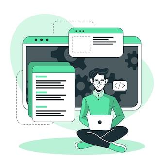 Illustrazione del concetto di attività dello sviluppatore