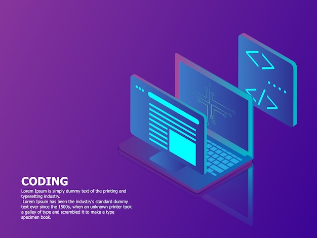 Illustrazione del concetto di codifica con il fondo di tecnologia isometrica di vettore del computer portatile