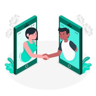 Illustrazione del concetto di collaborazione live
