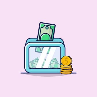 Illustrazione del concetto di donazione con l'icona dei soldi, della moneta e della scatola.