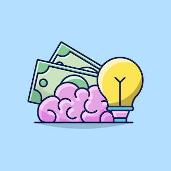 Illustrazione del concetto di idea di sviluppo di affari con soldi, cervello e lampadina
