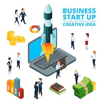 Illustrazione del concetto di iniziare affari. visualizzazione all'avvio immagini isometriche 3d
