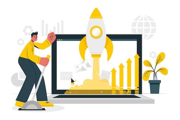 Illustrazione del concetto di lancio sul mercato