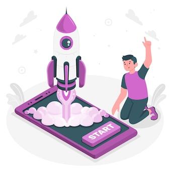 Illustrazione del concetto di lancio