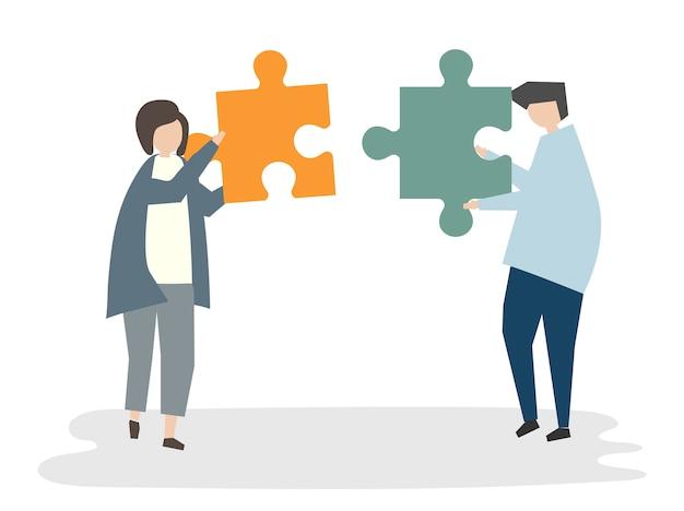 Illustrazione del concetto di lavoro di squadra avatar persone