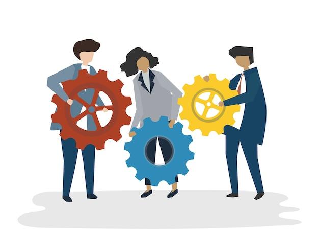 Illustrazione del concetto di lavoro di squadra di avatar di persone