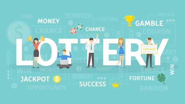 Illustrazione del concetto di lotteria. idea di gioco d'azzardo e tempo libero.