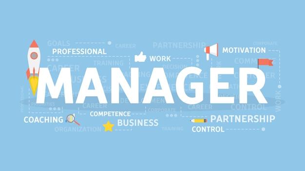 Illustrazione del concetto di manager. idea di strategia, rischi e sviluppo.