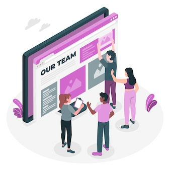 Illustrazione del concetto di pagina del team