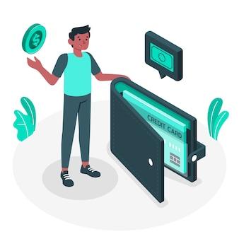 Illustrazione del concetto di portafoglio