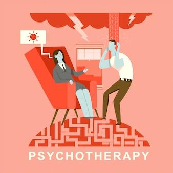 Illustrazione del concetto di psicoterapia. psicologo e paziente in consultazione