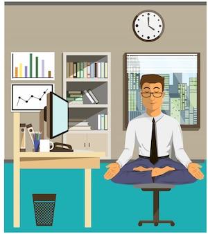 Illustrazione del concetto di relax e di equilibrio del lavoro. office man che fa yoga per calmare le emozioni stressanti dal multi-tasking e dal lavoro molto impegnato.
