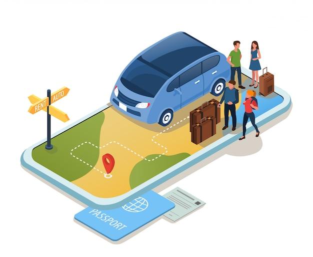 Illustrazione del concetto di rent auto.