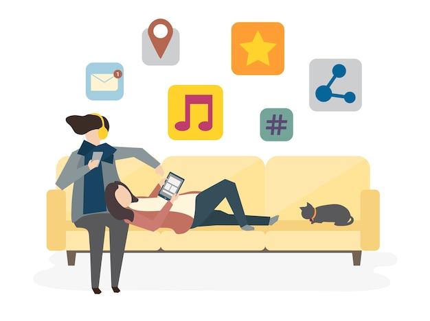 Illustrazione del concetto di rete sociale di avatar