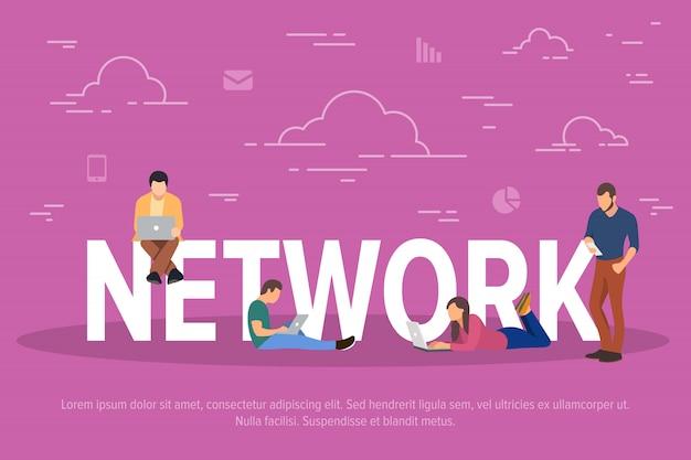 Illustrazione del concetto di rete. uomini d'affari che utilizzano dispositivi per lavorare attraverso la rete.