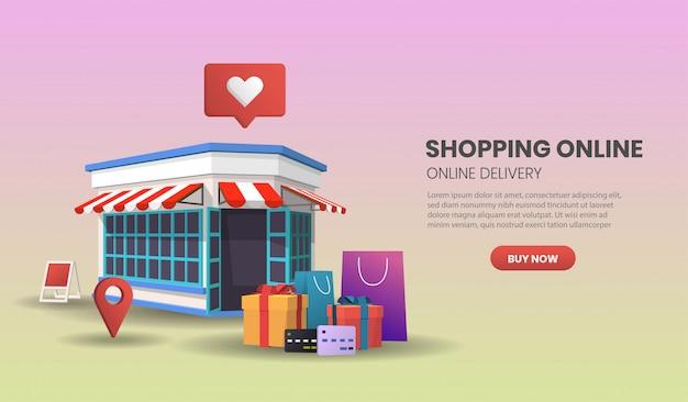Illustrazione del concetto di servizio di consegna online con negozio al dettaglio.