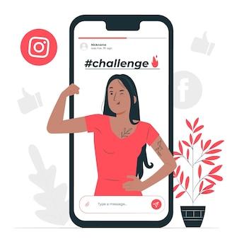 Illustrazione del concetto di sfida (virale)