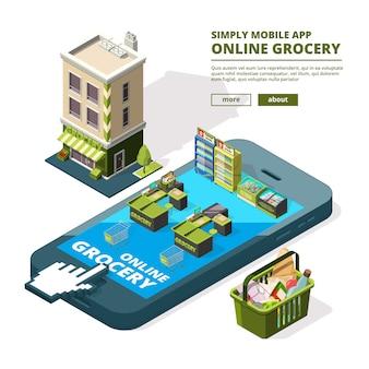 Illustrazione del concetto di shopping online. l'acquisto di diversi strumenti utilizza smartphone