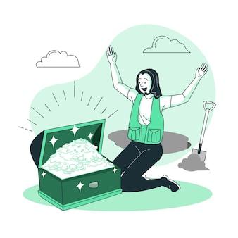 Illustrazione del concetto di tesoro