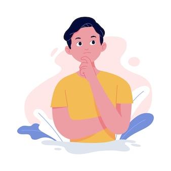 Illustrazione del concetto di un giovane con una posa pensante posizionando un dito sul mento
